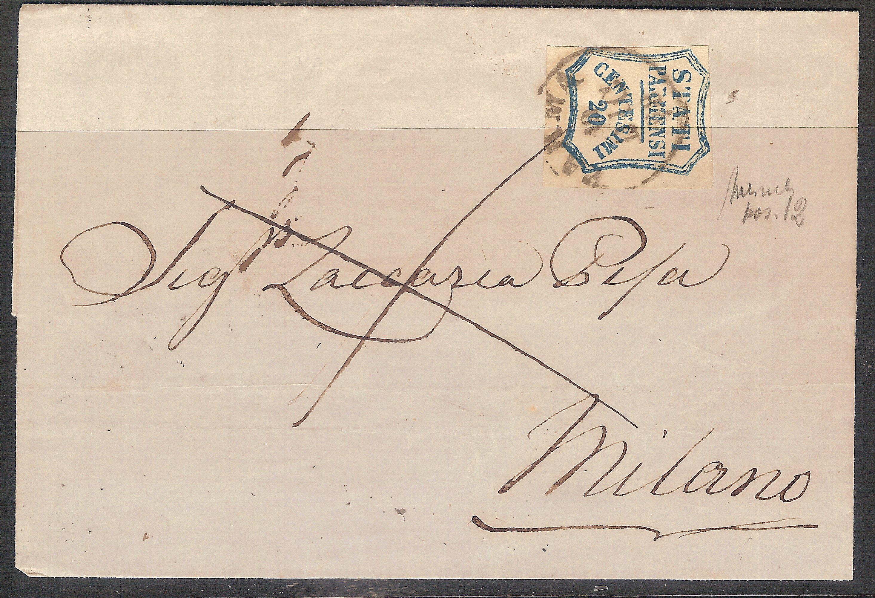 Parma gov. prov. 20 c. lettera 001