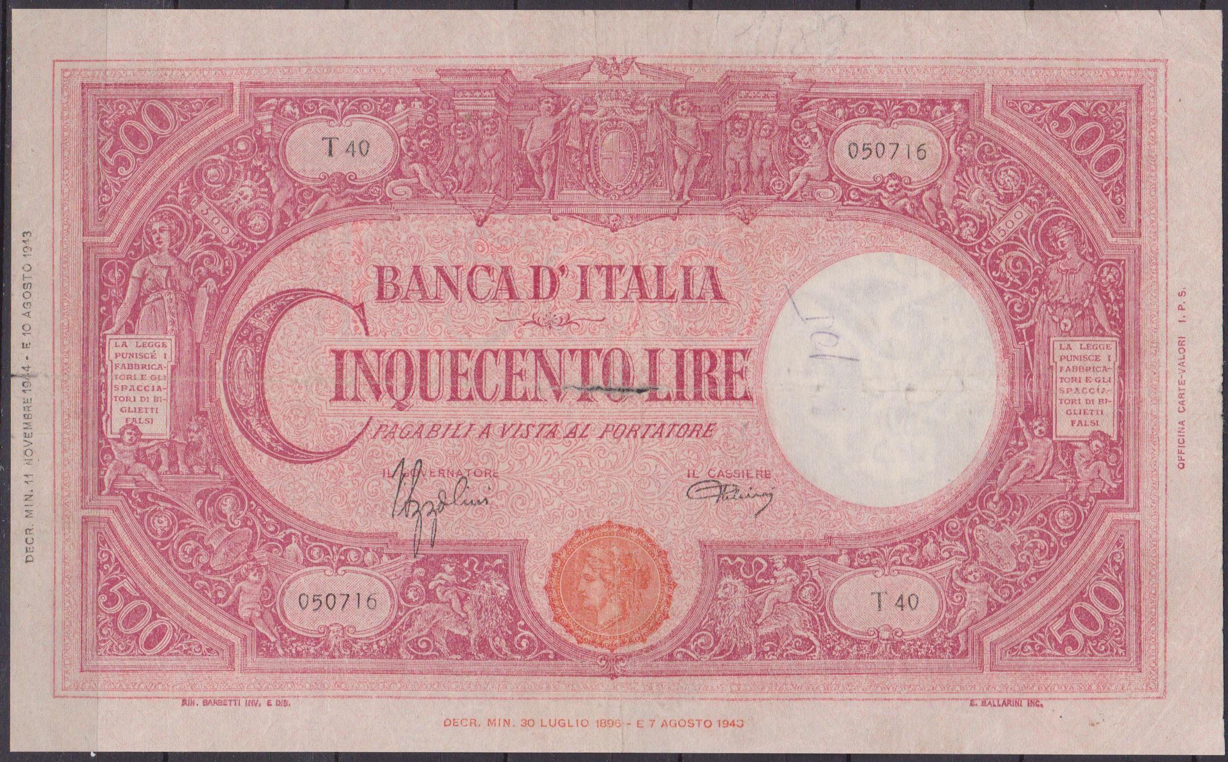 banconota 2 lire 500 001