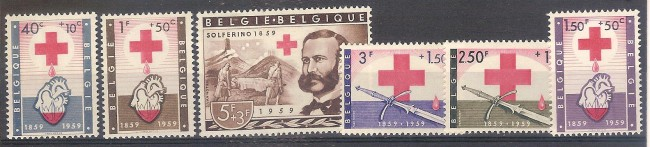 ** 1959 BELGIO CROCE ROSSA RED CROSS ( n.1096/01) MNH CAT. € 27,00
