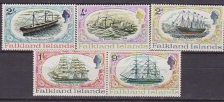 FALKLAND GREAT BRITAIN SHIPS SAIL 186/90 MNH