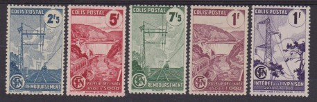 1945 FRANCIA TRENI FERROVIE TRAINS RAILWAYS 216/220 MNH/MH