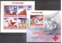 NIGER MALARIA CROCE ROSSA RED CROSS 4+BF MNH