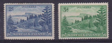 NORFOLK ISLAND 1959 YVERT N 23-24 MNH tree