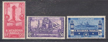 ** ITALIA REGNO 1931 ACCADEMIA NAVALE NUOVO SHIPS LIGHTHOUSE MNH ( SASSONE 300/302 ) CAT. € 200,00