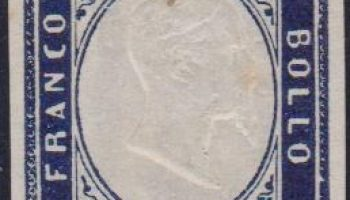Sardegna 20 cent. Indaco violaceo scuro n. 15Ea. – Firmato CH – – A.D.