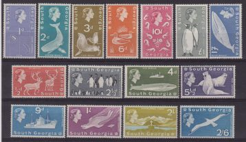 SOUTH GEORGIA 1965-69 DEF. SET Q.E.II MNH FISH BIRDS 9/24 MNH