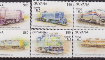 GUYANA WORLD STAMP EXPO AUSTRALIA TRENI TRAIN SET MNH