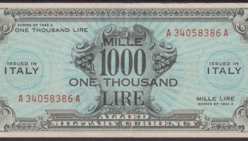 Banconota Lire 1000 1943 A ( Bilingue) Allied Military Currency AM Lire