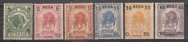** SOMALIA 1922 MNH ANIMALI SOPRASTAMPATI / ANIMAL OVERPRINT ( SASS. 24/29 ) CAT. € 400,00