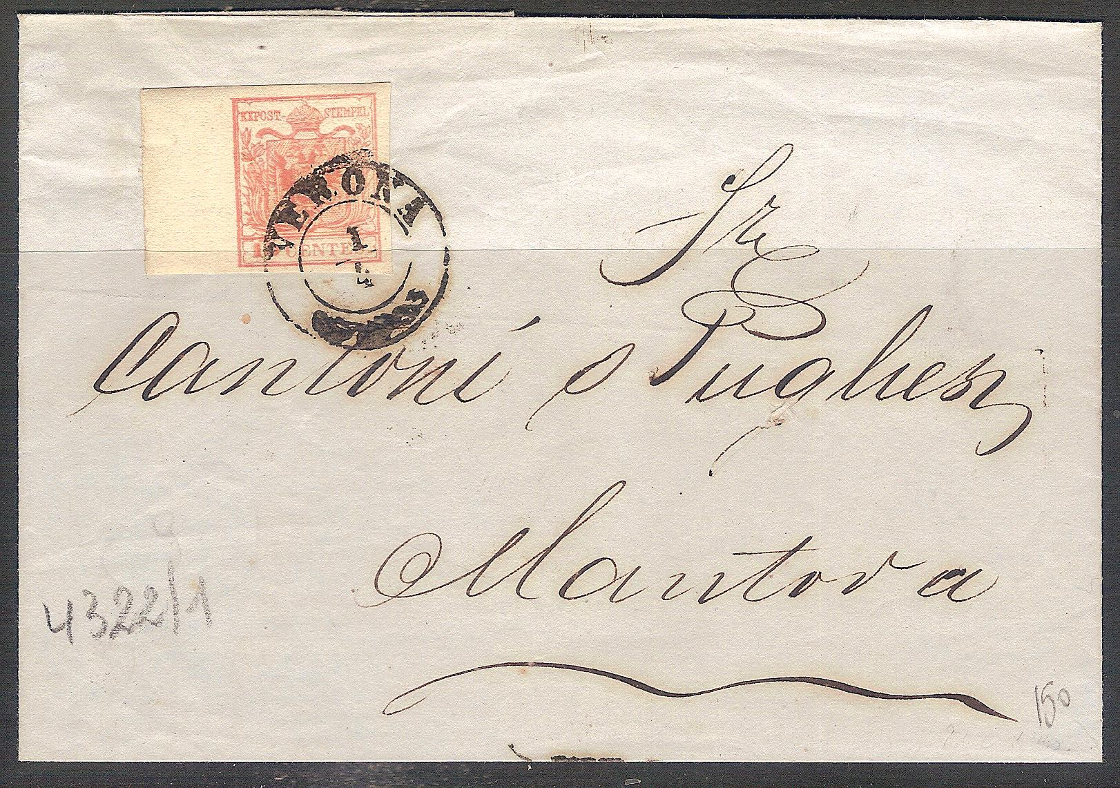 Lombardo Veneto lettera 15 c. angolo 001