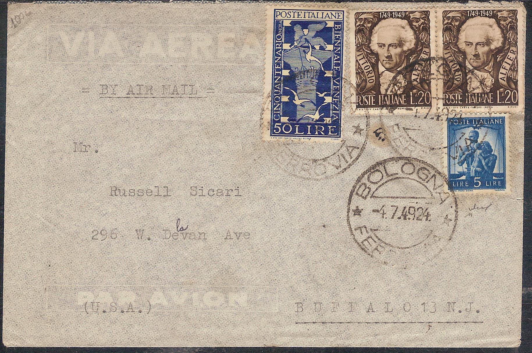 Lettera da Bologna del 4.7.49 diretta a Buffalo (USA ...