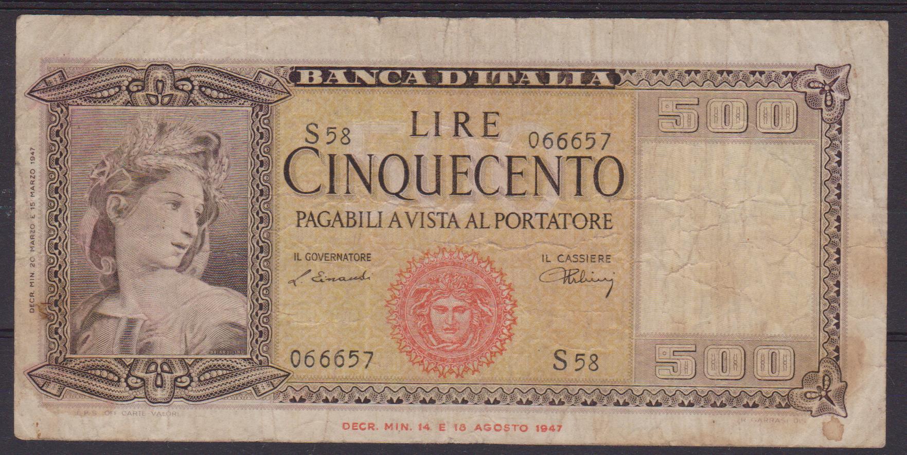 banconota lire 500 1 001