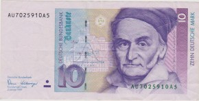 Germany Germania 10 Mark 1993. Gauss.