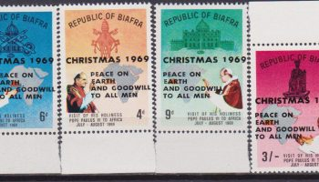 "Biafra 1969 Overprinted ""CHRISTMAS 1969 – PEACE ON EARTH AND GOODWILL TO ALL MEN"" 4 V. mnh"