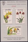Columbia 1957 – Fiori Flowers orchid bee sheet MNH