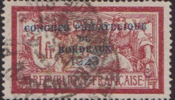 Francia – 698 € 1923 Congrsesso filatelico di Bordoux n. 182. Cat. € 600. SPL