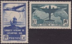 Francia – 506 ** 1936 – Traversata aerea dell'atlantico n. 320/21. Cat. € 750,00. SPL