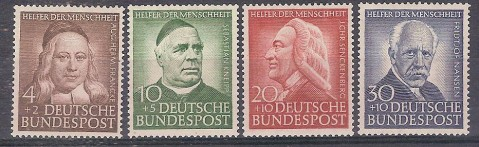 ** GERMANIA GERMANY 1953 BENEFATTORI 59/62 MNH CAT. € 85,00