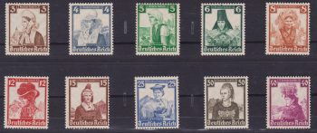 Germania Reich 1935 – Costumi regionali 547/56 MNH – Cat. € 210,00