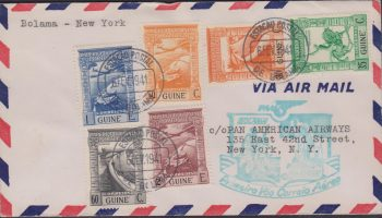 Portuguese Guinee 1941 First Flight cover, Boloma to San Juan New York