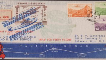 1937 Shanghai China primo volo First Flight Cover San Francisco USA With Map Route