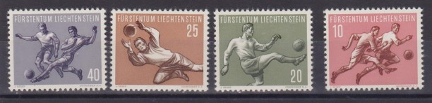 ** 1954 LIECHTENSTEIN SPORT SOCCER FOOTBALL MNH (UNIF. 284/7) Cat. € 60,00