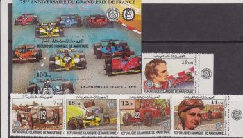 Mauritania – Formula 1 Grand Prinx France Ferrari Renault cars set+sheet MNH