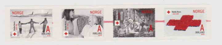 NORVEGIA. CROCE ROSSA RED CROSS 4 V. AUTOAD. MNH