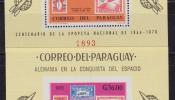Paraguay 1983 – Space / stamp on stamp / Zeppelin / BL 83/84 MNH