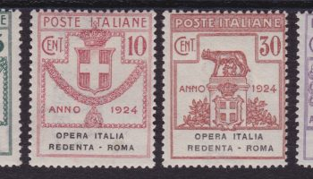 Enti Parastatali 204 ** 1924 – OPERA IT. RED. ROMA n. 46/49. Cert. E. Diena. Cat. € 1000,00. SPL