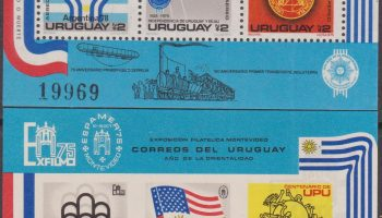 Uruguay 1975 UPU Football Calcio WC Montreal Argentina US Bicentennial Flag Train 2 Foglietti MNH