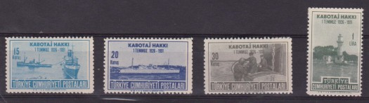 TURCHIA TURKEY – 1950 NAVI FARO SHIPS lighthouse MNH