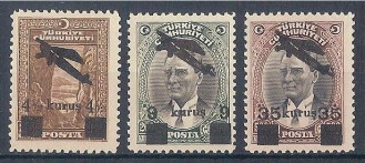 TURCHIA TURKEY – 1942 AIR POST OVERPRINT A9/A11 MNH