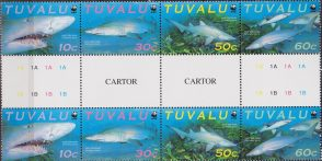 Tuvalu WWF Sand Tiger Shark Full Gutter Strip
