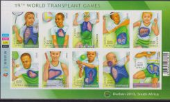 SOUTH AFRICA – 2013 – 19th World Transplant Games. Sheet of 10v. Mint MNH HEALTH SPORT