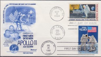 USA Space Cover FDC 1989, 20th Anniversary moon landing.