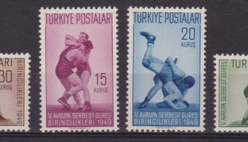 TURCHIA TURKEY – 1949 CAMPIONATI EUROPEI DI LOTTA LIBERA 1083/86 SPORTSMNH